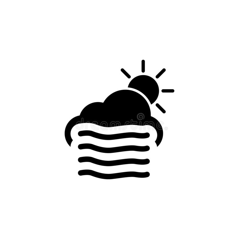 Icono ventoso de la nube y del sol Elemento del ejemplo del tiempo Las muestras y los símbolos se pueden utilizar para la web, lo stock de ilustración