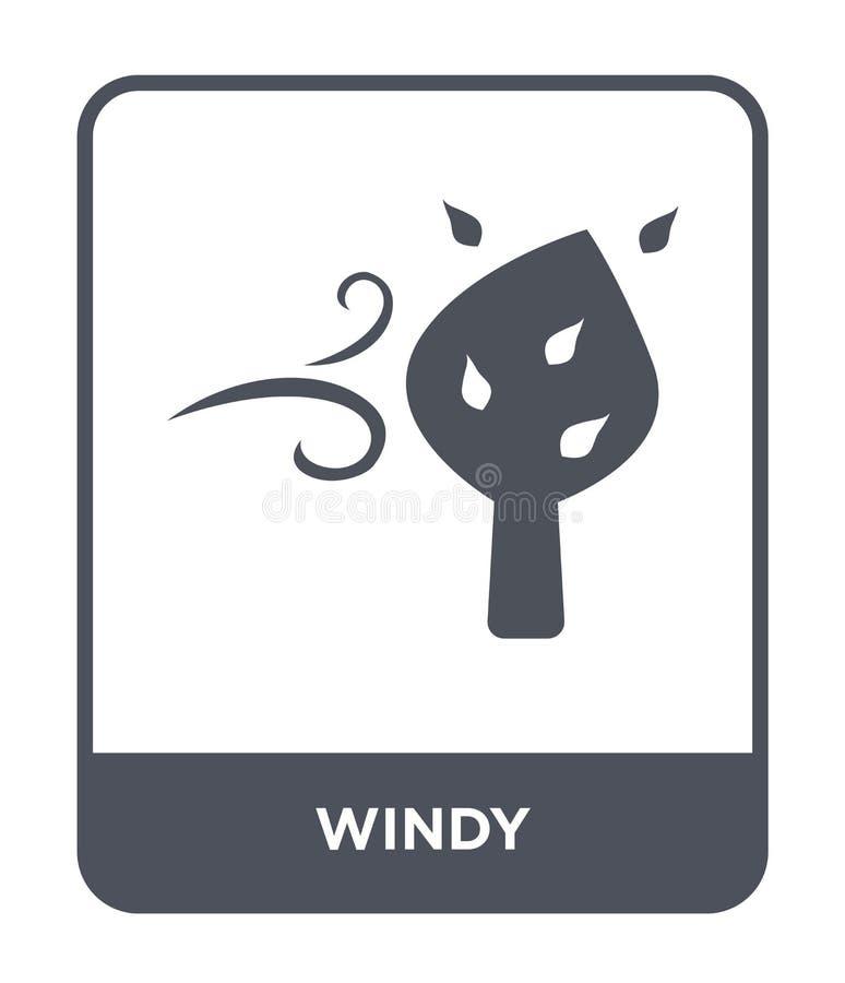 icono ventoso en estilo de moda del diseño icono ventoso aislado en el fondo blanco símbolo plano simple y moderno del icono vent ilustración del vector