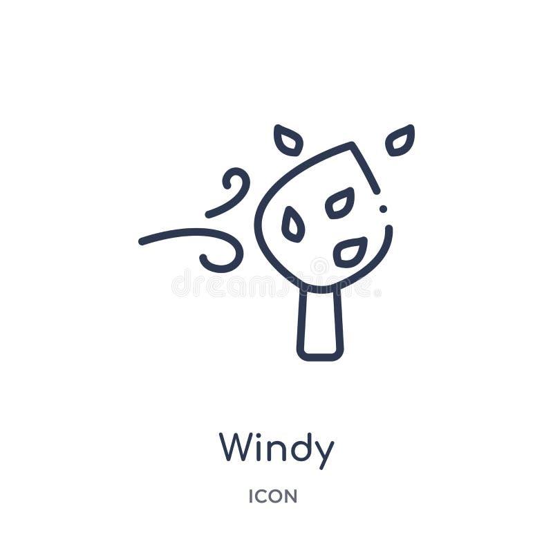 Icono ventoso linear de la colección del esquema del otoño Línea fina vector ventoso aislado en el fondo blanco ejemplo de moda v stock de ilustración