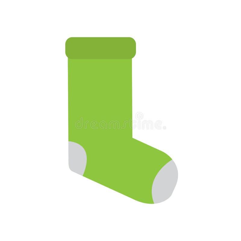 Icono verde aislado de los calcetines ilustración del vector