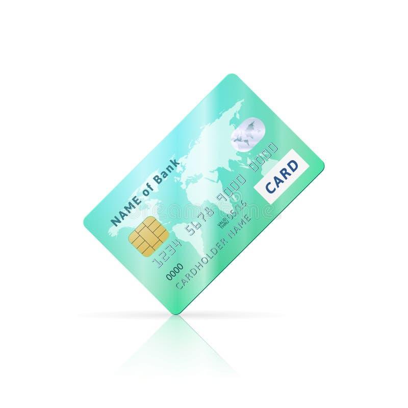 Icono verde brillante detallado de la tarjeta de crédito libre illustration