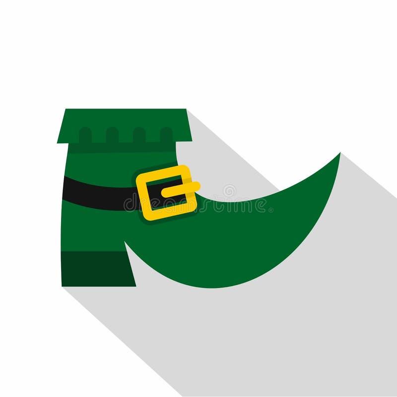 Icono verde de la bota del duende, estilo plano ilustración del vector