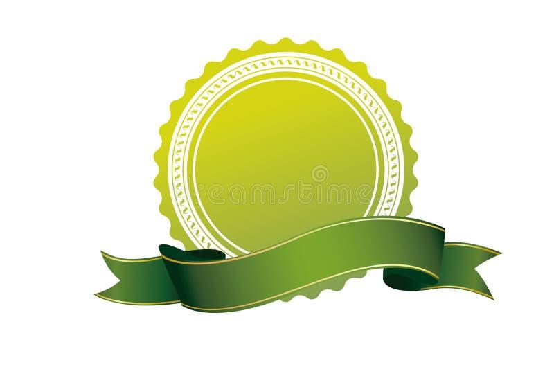 Icono verde de la cinta de la insignia en el fondo blanco libre illustration
