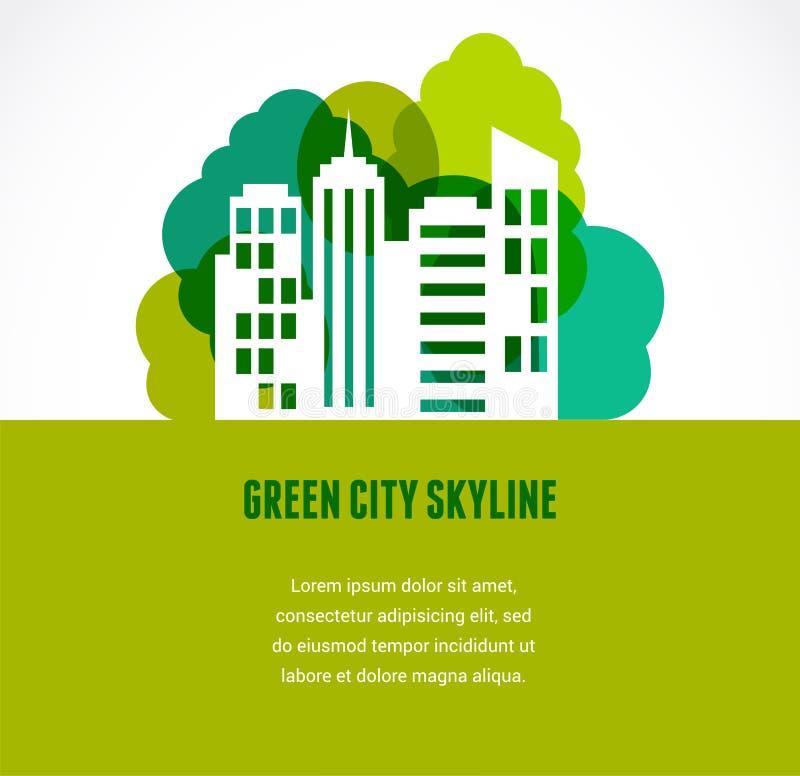 Icono verde de la ciudad y del horizonte stock de ilustración