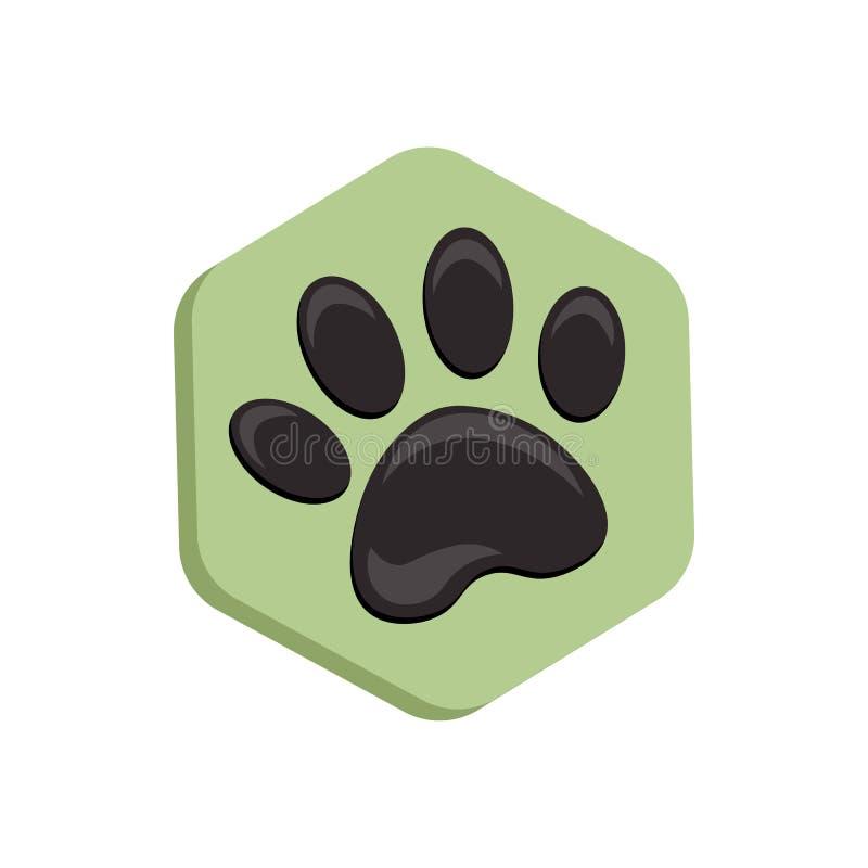 Icono verde de la forma del hexágono del vector con los animales Iconos de la pata del gato aislados huella animal hexagonal libre illustration