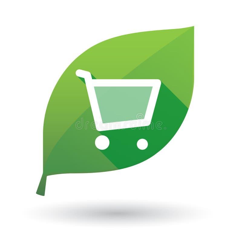 Icono verde de la hoja con un carro de la compra stock de ilustración