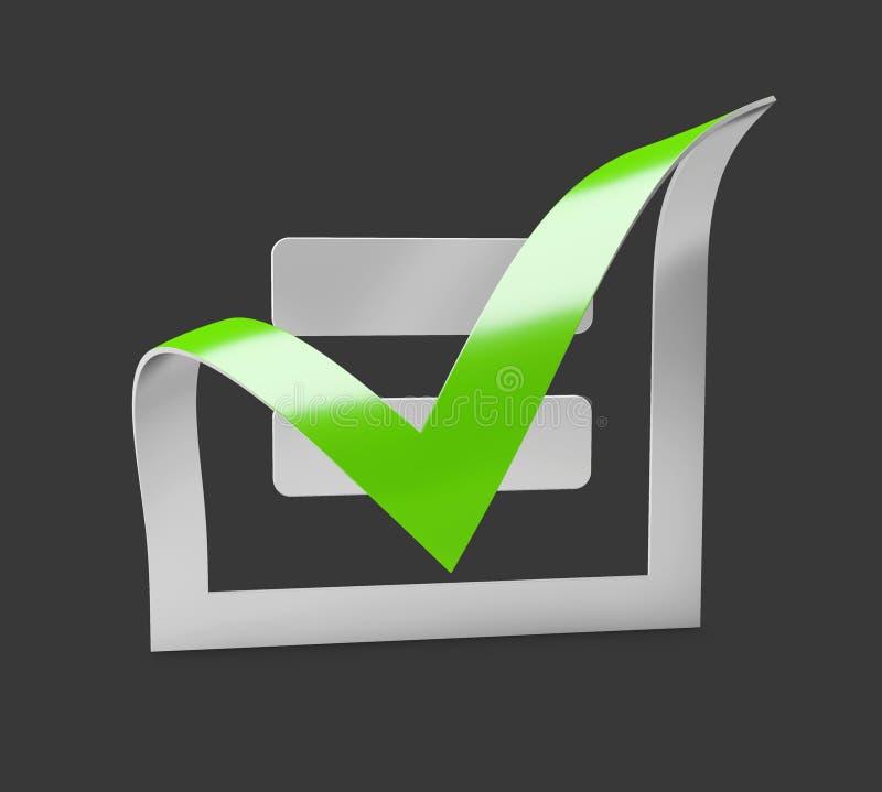 Icono verde de la marca de verificación Símbolo de la señal en el color verde, ejemplo 3d stock de ilustración
