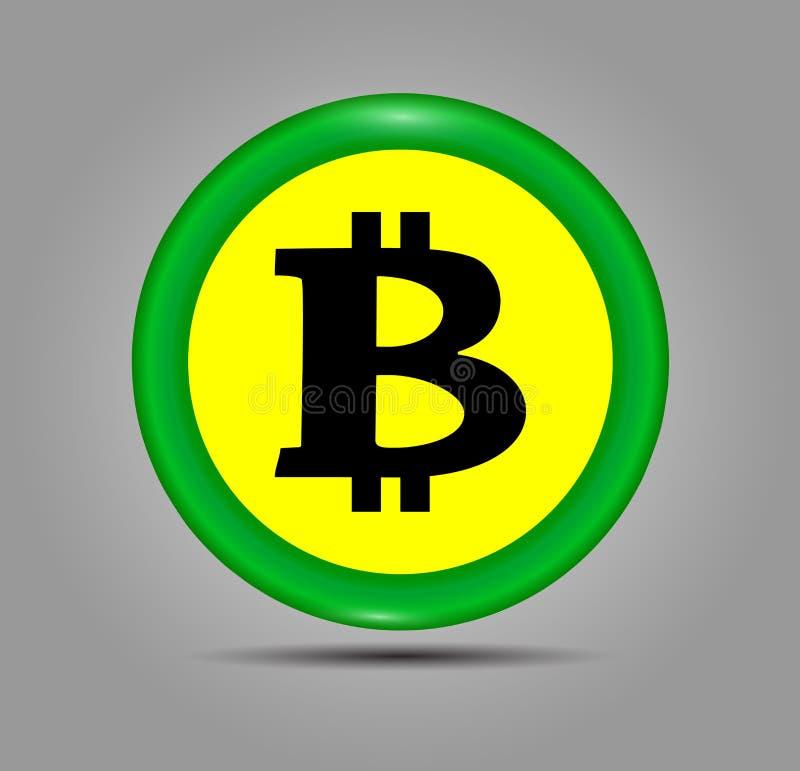 Icono verde de la muestra de Bitcoin para el dinero de Internet Símbolo de moneda e imagen Crypto de la moneda para usar en proye ilustración del vector