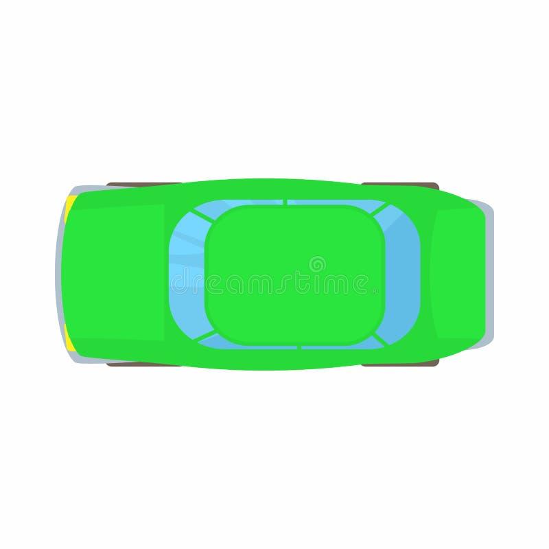 Icono verde de la opinión superior del coche, estilo de la historieta ilustración del vector