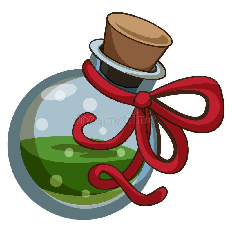 Icono verde de la poción, estilo de la historieta ilustración del vector