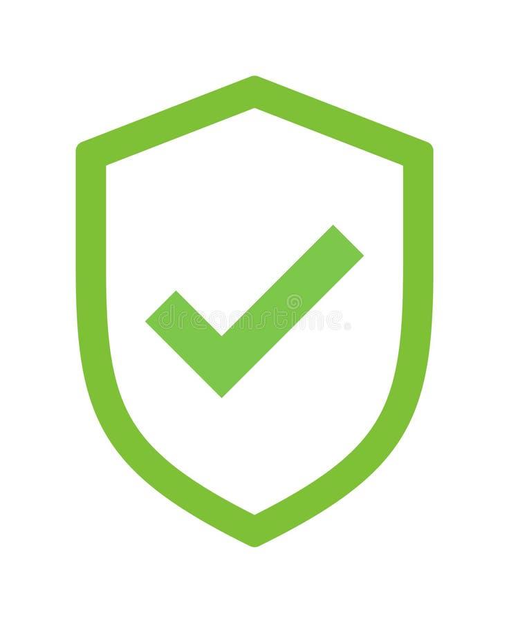 Icono verde de la señal de la seguridad del escudo libre illustration