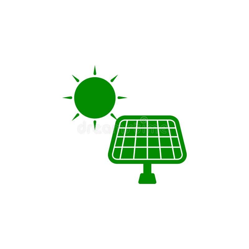 icono verde de los paneles solares Elemento del icono de protección de la naturaleza para los apps móviles del concepto y del web stock de ilustración