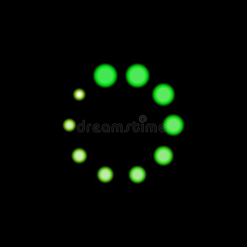 Icono verde del cargador del vector, color brillante de la luz de neón, el brillar intensamente de la forma del círculo ilustración del vector