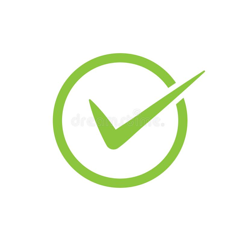 Icono verde del vector de la marca de verificación en un círculo Símbolo de la señal en el color verde para su diseño del sitio w libre illustration