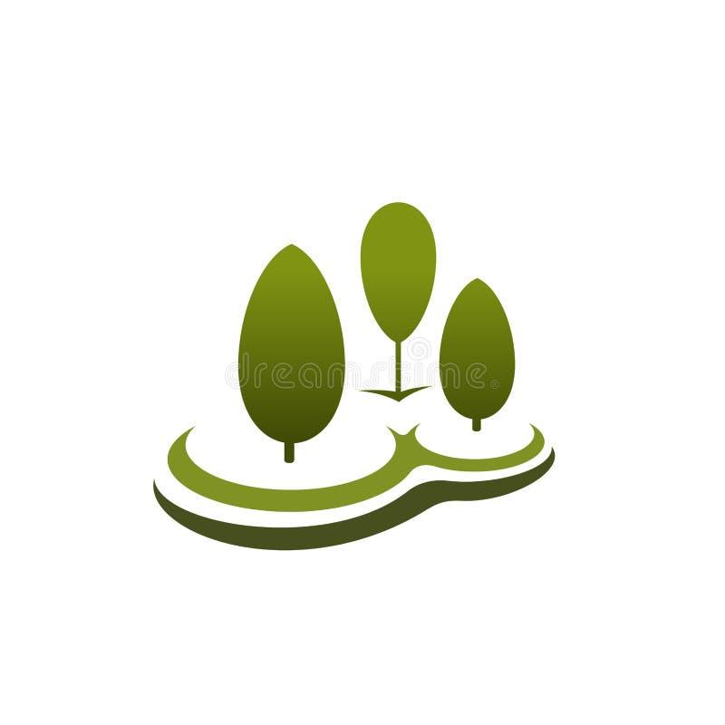 Icono verde del vector de tres árboles stock de ilustración