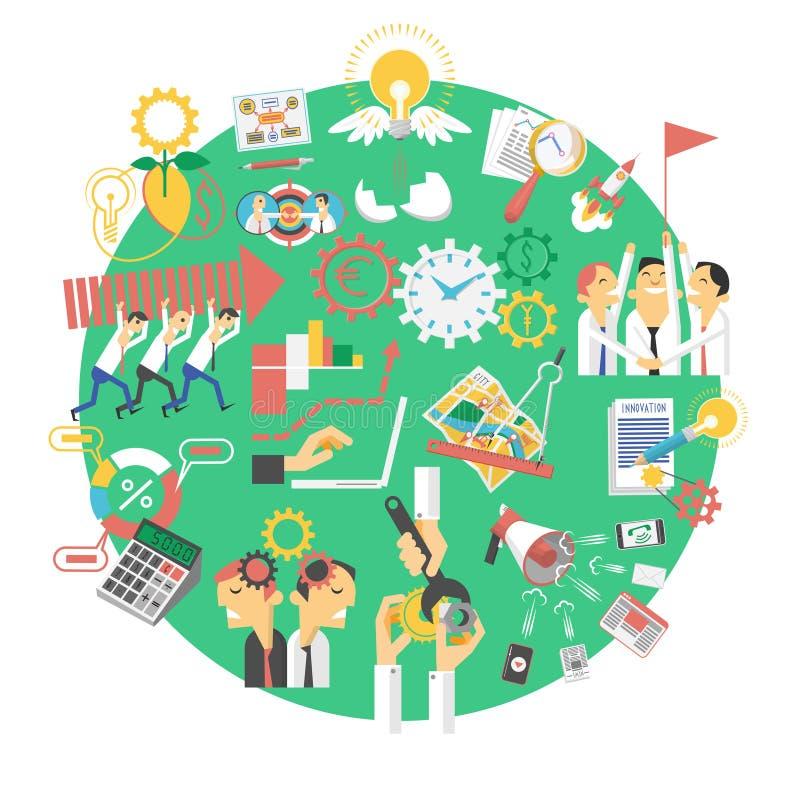 Icono verde global del concepto del negocio libre illustration