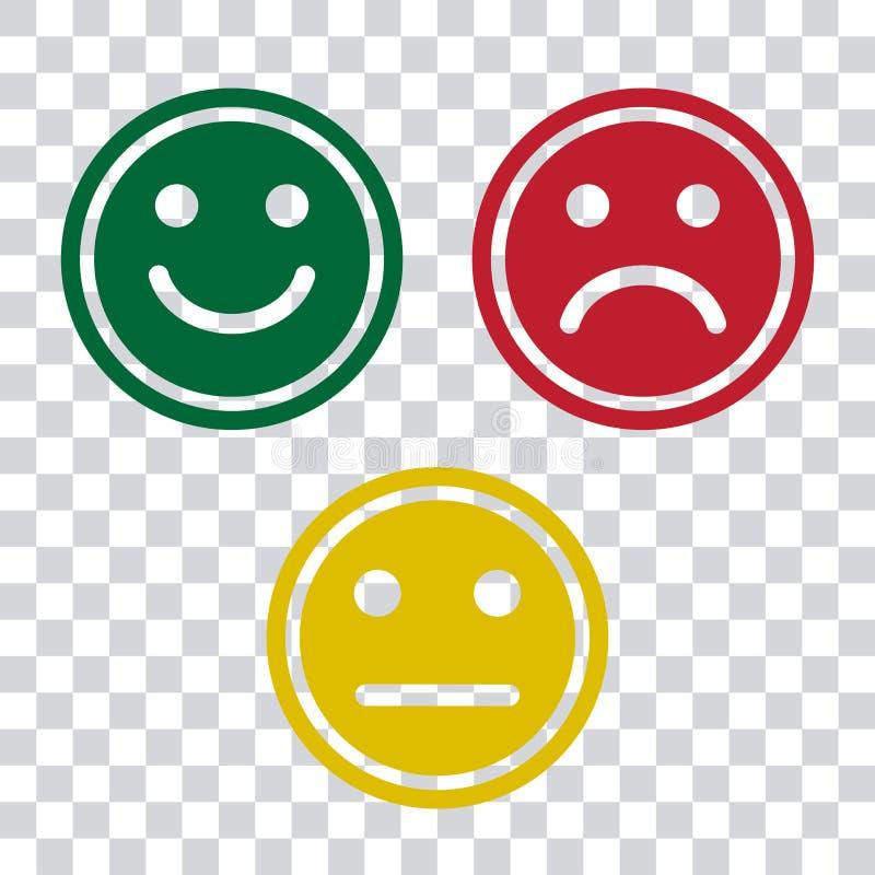 Icono verde, rojo y amarillo de los emoticons de los smiley en fondo transparente Humor positivo, negativo y neutral, diverso Vec ilustración del vector
