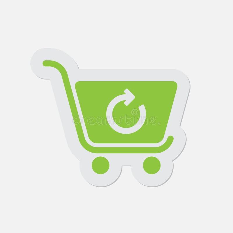 Icono verde simple - el carro de la compra restaura libre illustration