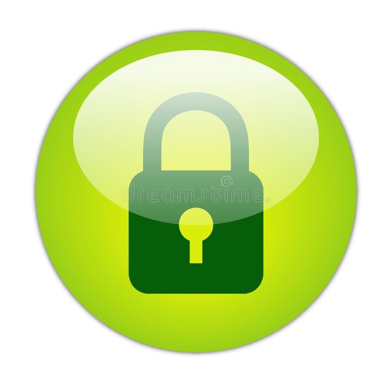 Icono verde vidrioso del bloqueo stock de ilustración