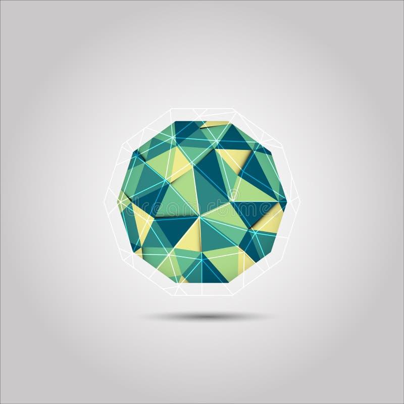 Icono verde y amarillo del vector de la forma del polígono del mosiac de la esfera stock de ilustración