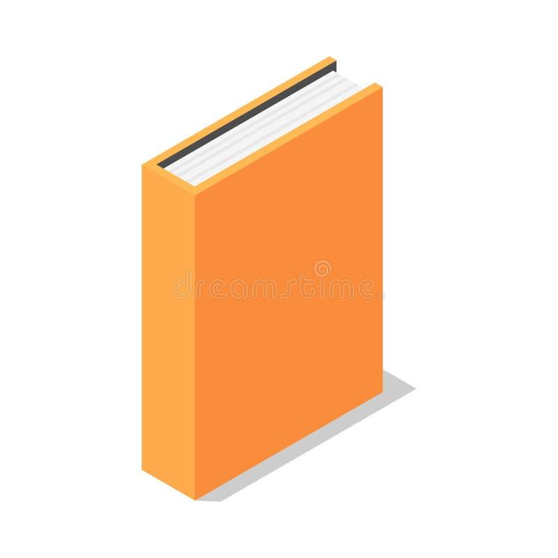 Icono vertical anaranjado del soporte de libro, estilo isométrico ilustración del vector