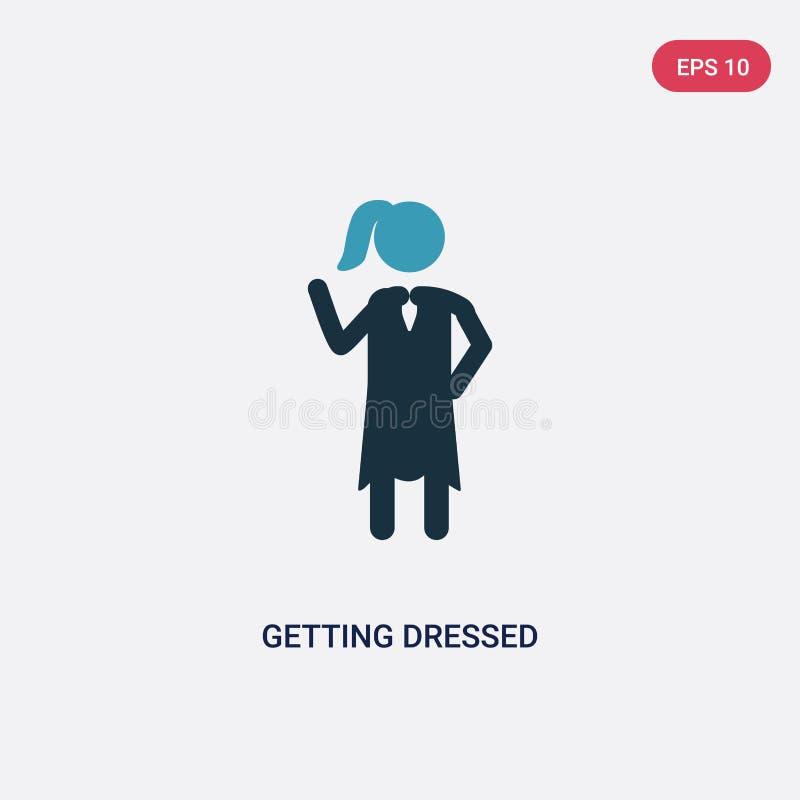 Icono vestido bicolor del vector que consigue del concepto de la gente el azul aislado que consigue símbolo vestido de la muestra ilustración del vector
