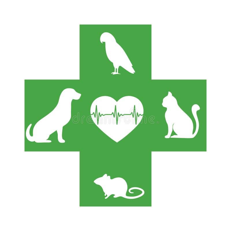 Icono veterinario con el corazón, los animales domésticos y la cruz verdes en el fondo blanco libre illustration