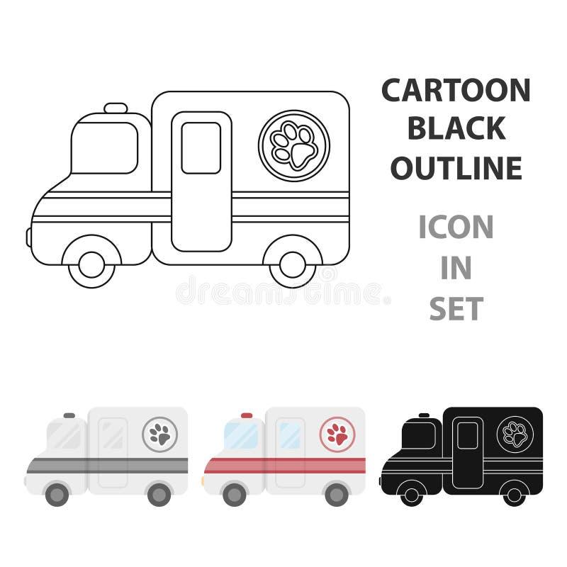 Icono veterinario de la ambulancia en estilo de la historieta en el fondo blanco Vector veterinario de la acción del símbolo de l ilustración del vector