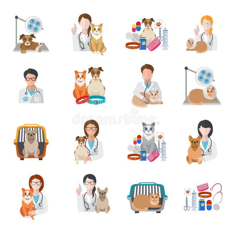 Icono veterinario plano stock de ilustración