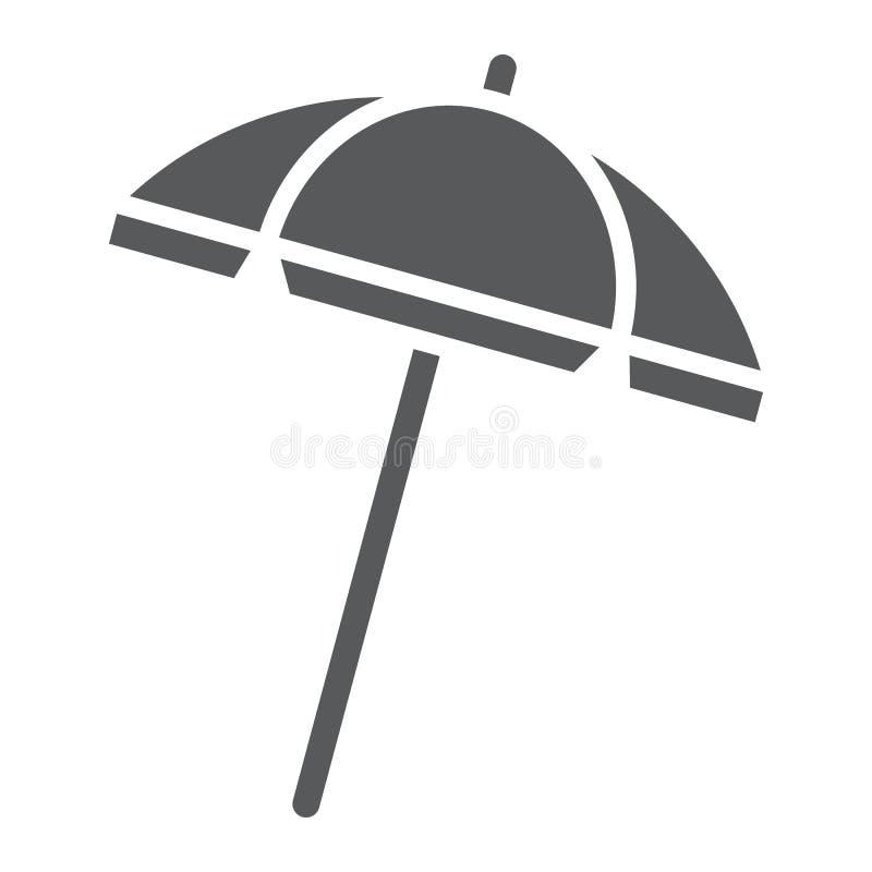 Icono, viaje y parasol del glyph del parasol de playa stock de ilustración