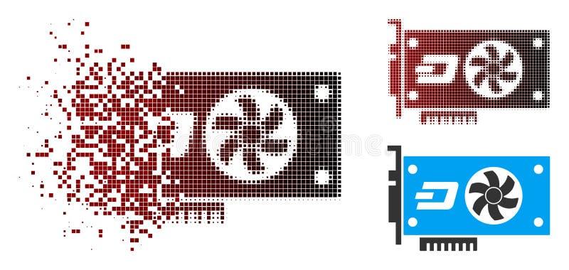 Icono video de la tarjeta de la rociada de semitono quebrada GPU del pixel ilustración del vector