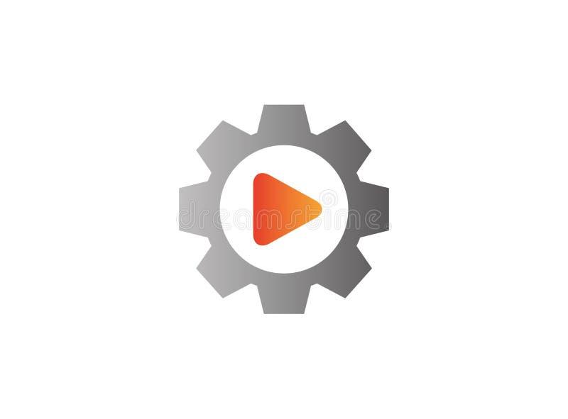 Icono video del juego dentro de un piñón del engranaje para el diseño del logotipo ilustración del vector