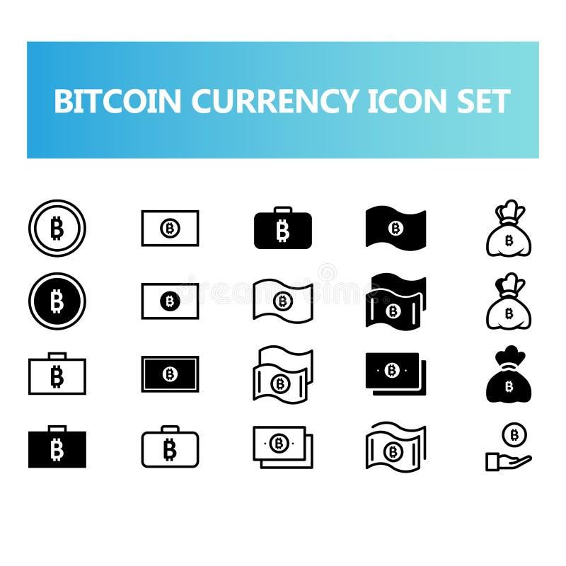 Icono virtual de la moneda de Bitcoin fijado en estilo del sólido y del esquema ilustración del vector