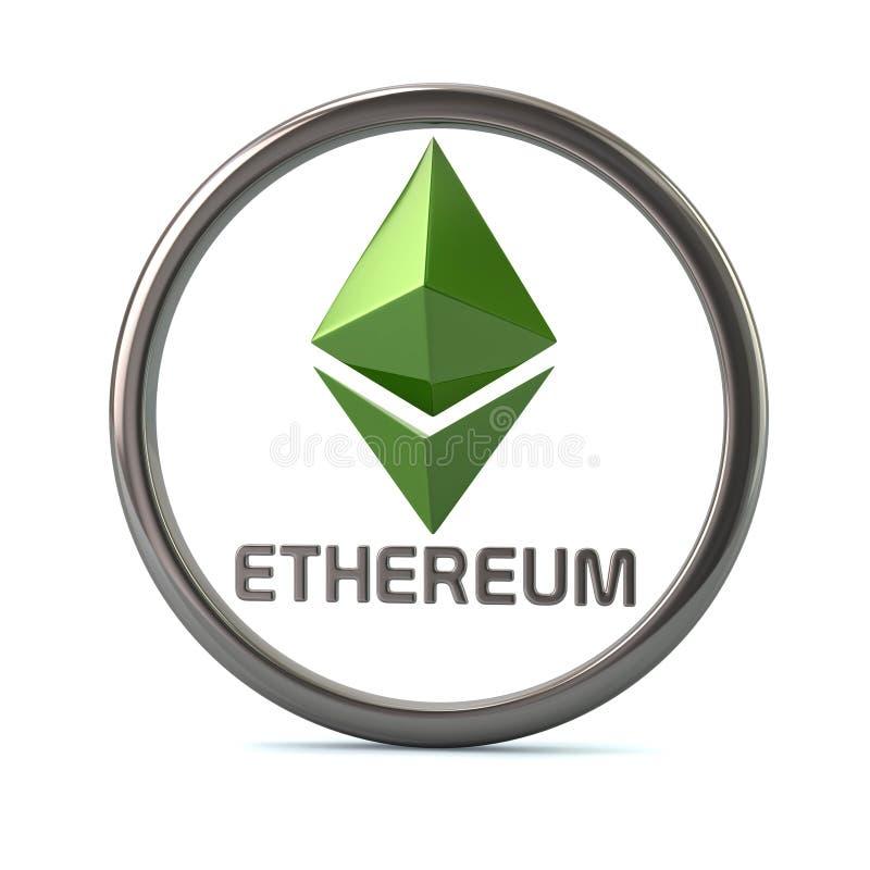 Icono virtual de la moneda del cripto de Gren Ethereum ilustración del vector