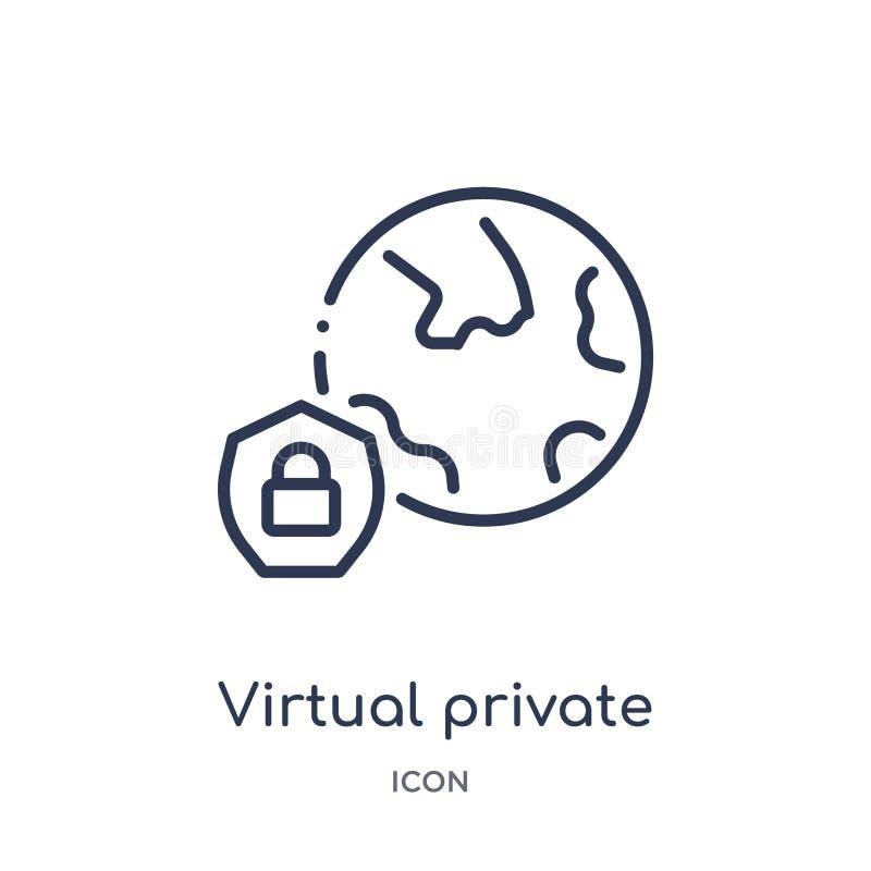 Icono virtual linear de la red privada de la seguridad de Internet y de la colección del esquema del establecimiento de una red L ilustración del vector