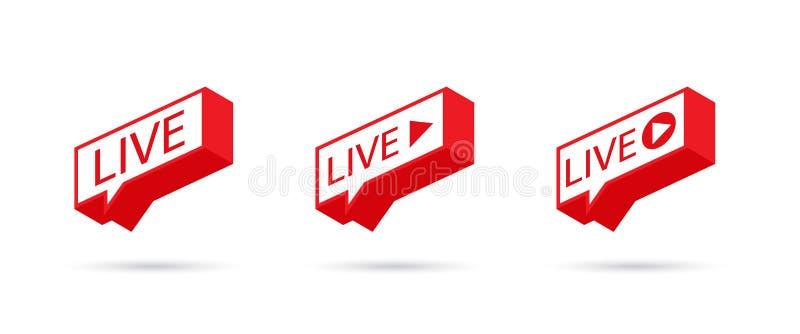 Icono VIVO, botón, símbolo, web, ui, app El fluir social LIVE del icono de los medios Burbuja del discurso Ilustración del vector ilustración del vector
