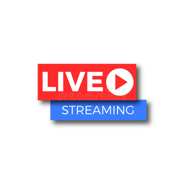 Icono vivo del logotipo de la corriente TV ilustración del vector