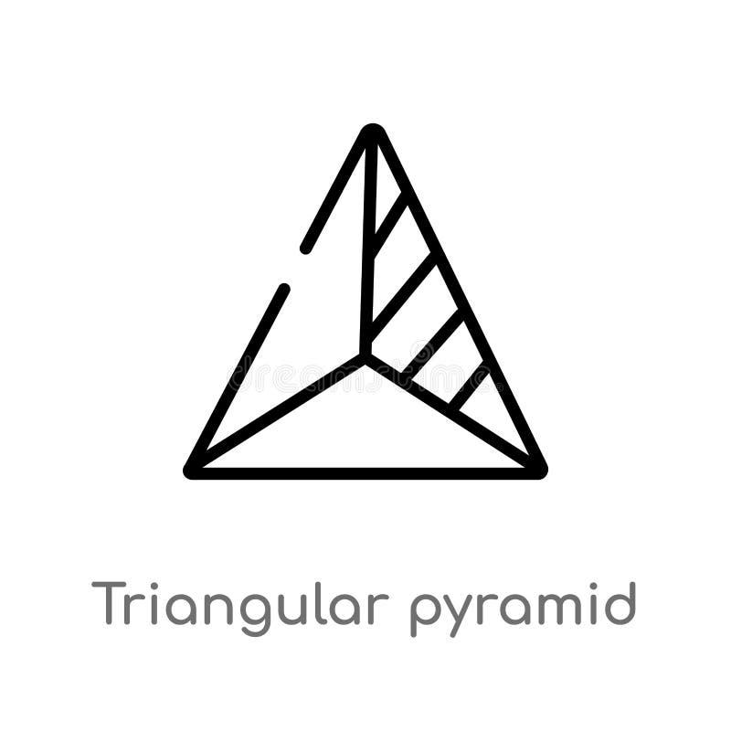 icono volumétrico del vector de la forma de la pirámide triangular del esquema línea simple negra aislada ejemplo del elemento de ilustración del vector