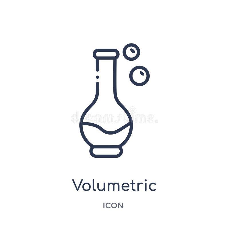 Icono volumétrico linear de la colección del esquema de la química Línea fina vector volumétrico aislado en el fondo blanco volum ilustración del vector
