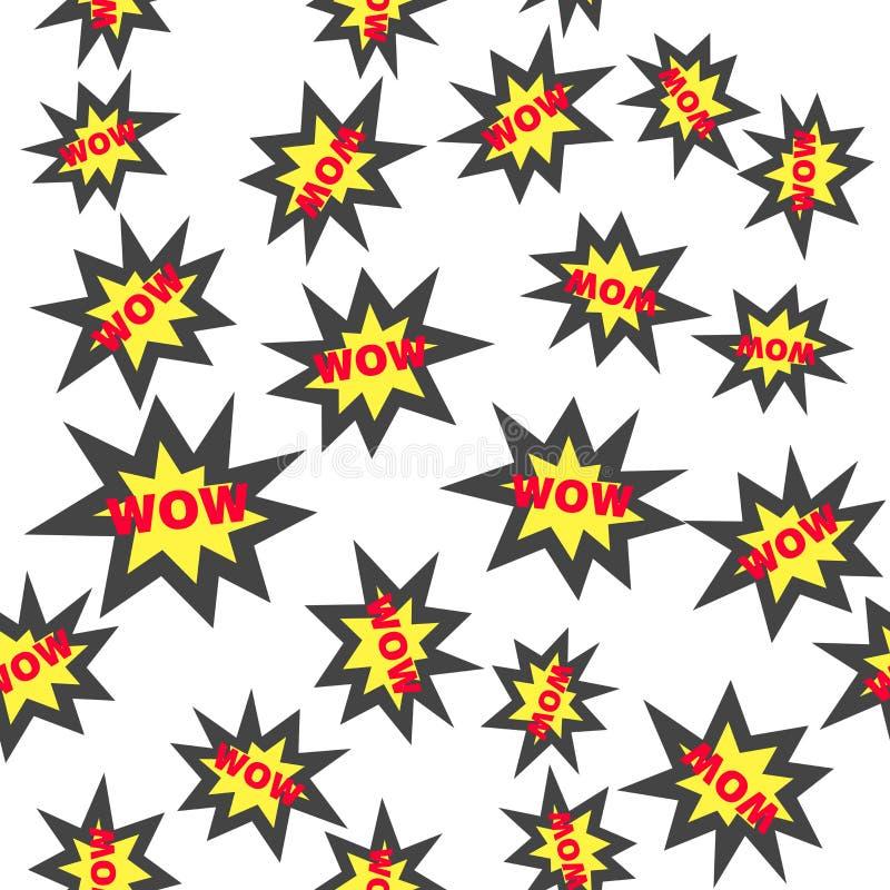 Icono wow del vector Modelo inconsútil de la etiqueta engomada del color guau en un fondo blanco ilustración del vector