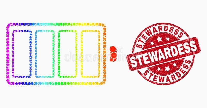Icono y azafata rasguñada Stamp Seal de la batería eléctrica del pixel del espectro del vector stock de ilustración