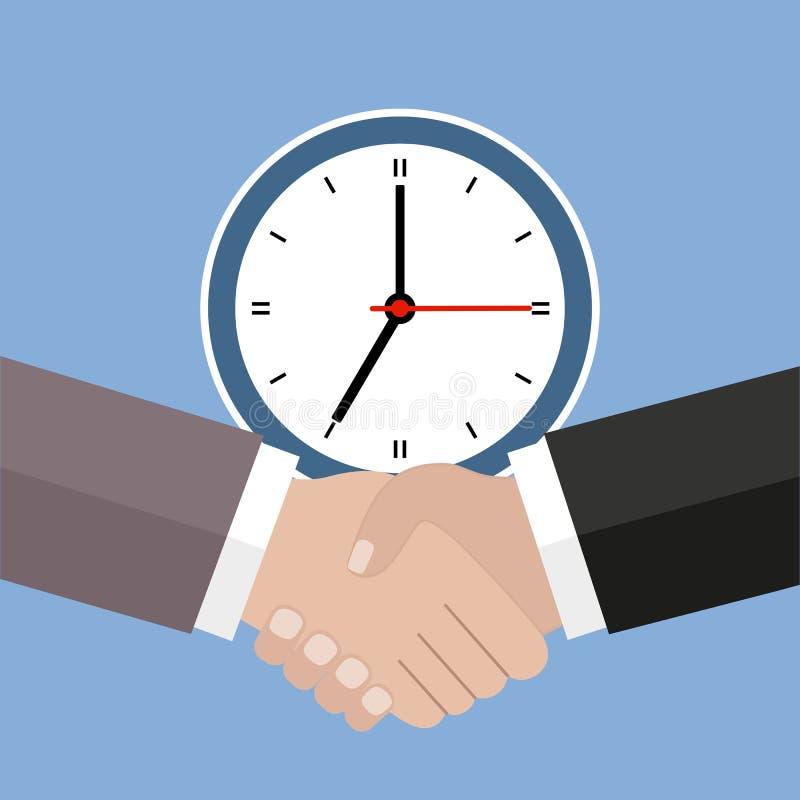 Icono y cuenta descendiente, plazo, símbolo del planeamiento, horario del apretón de manos y de la gestión stock de ilustración