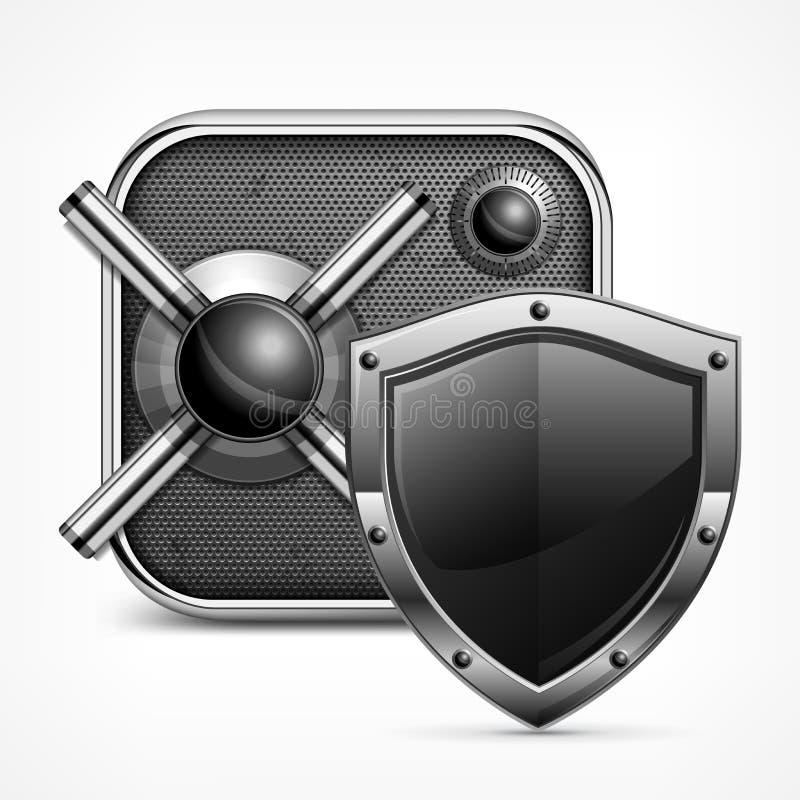 Icono y escudo seguros stock de ilustración