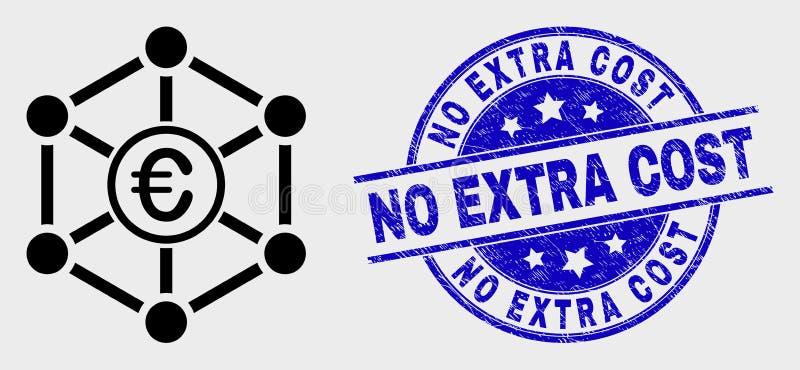 Icono y Grunge euro de la red del contorno del vector ningún sello costado adicional ilustración del vector