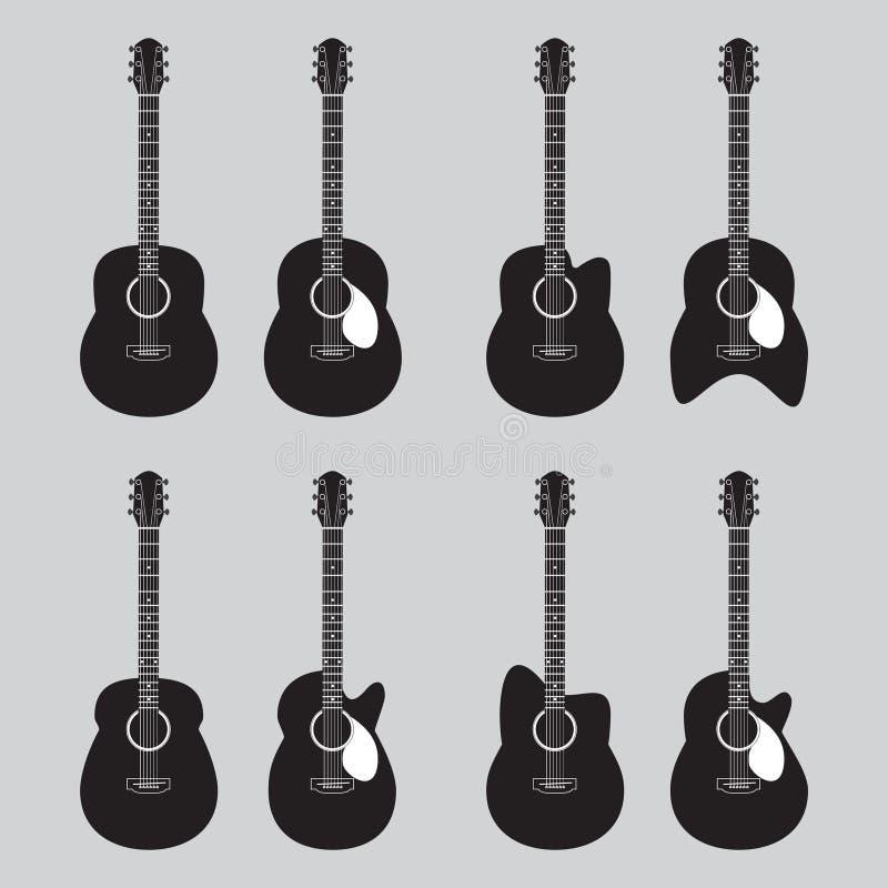 Icono y logotipo de la guitarra ilustración del vector