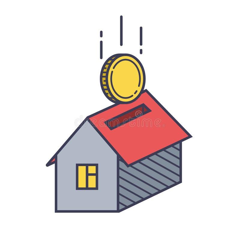Icono y moneda de la casa Pr?stamo de la propiedad ilustración del vector