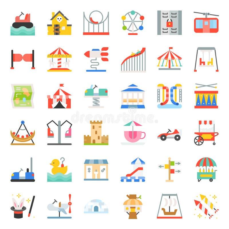 Icono y paseo de fichas, SE plano del parque de atracciones de los iconos del diseño ilustración del vector