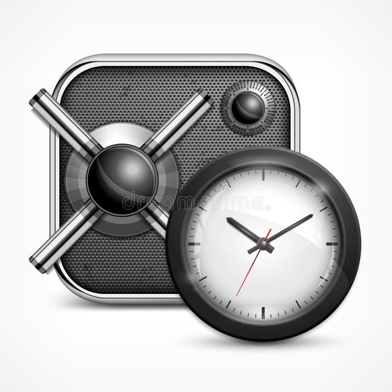 Icono y reloj seguros ilustración del vector