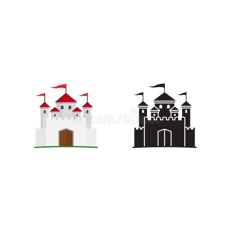 Icono y silueta medievales del reino stock de ilustración