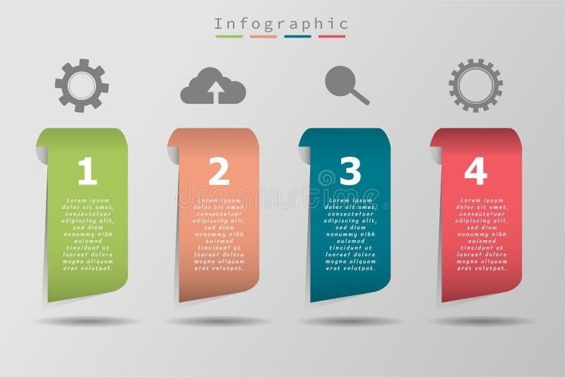Icono y texto coloridos, cronología de la muestra cuatro del negocio stock de ilustración